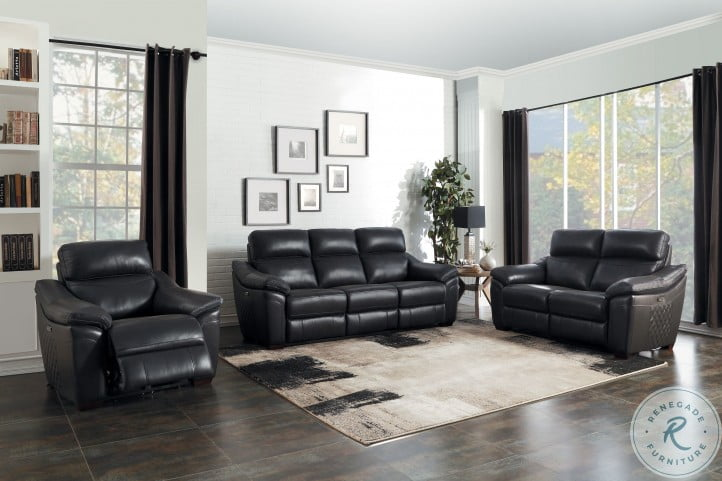 Renzo Dark Gray Power Double Reclining Living Room Set