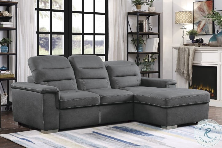 Alfio Gray 2 Piece Sectional With Pull Out Bed