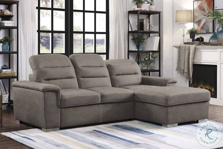 Alfio Tan 2 Piece Sectional With Pull Out Bed