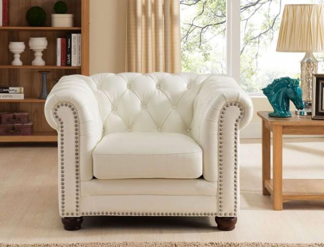 Monaco Pearl White Leather Arm Chair
