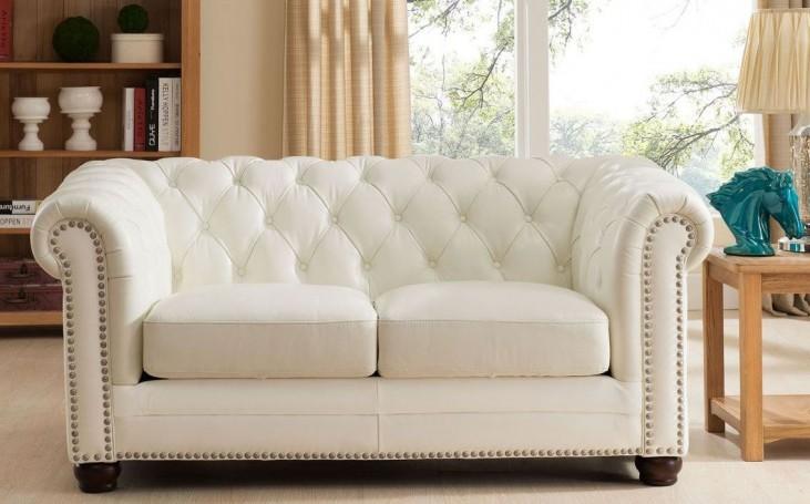 Monaco Pearl White Leather Loveseat