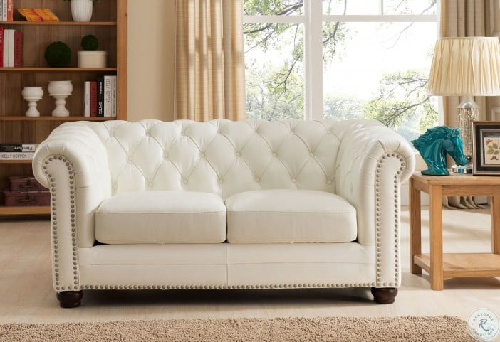 Miraculous Monaco Pearl White Leather Loveseat Gmtry Best Dining Table And Chair Ideas Images Gmtryco