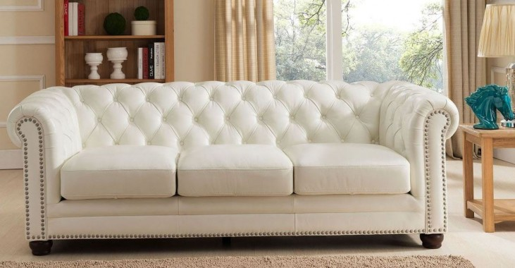 White Couch Set For Sale: Monaco Pearl White Leather Sofa From Amax Leather