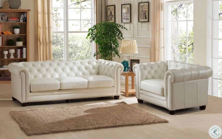 Monaco Pearl White Leather Living Room Set