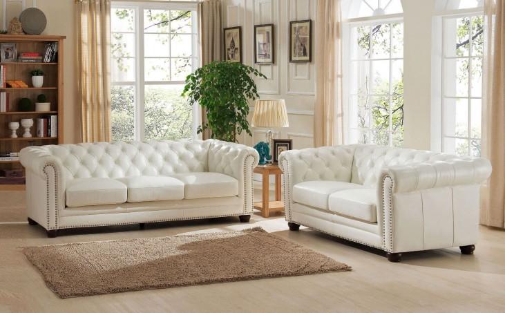 Monaco Pearl White Leather Living Room Set