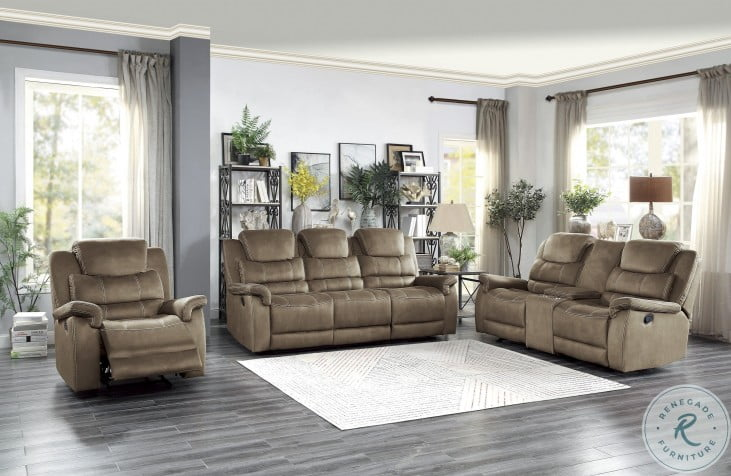 Shola Brown Double Reclining Living Room Set With Drop Down Table