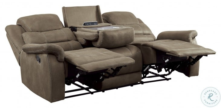 Shola Brown Double Reclining Sofa With Drop Down Table
