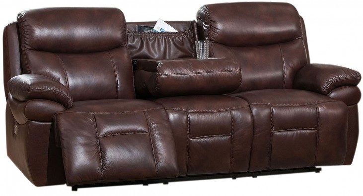 Summerlands II Brown Adjustable Headrest Power Reclining Sofa with Dropdown Table