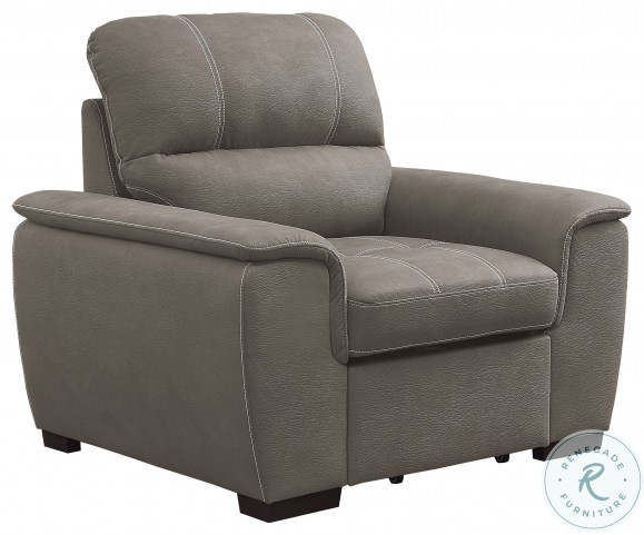 Andes Taupe Chair With Pull Out Ottoman