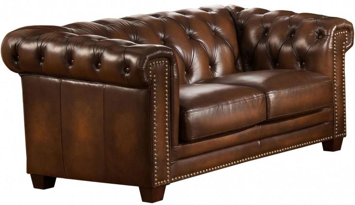 Stanley Park II Brown Leather Loveseat