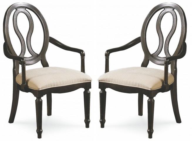 Summer Hill Midnight Pierced Back Arm Chair Set of 2