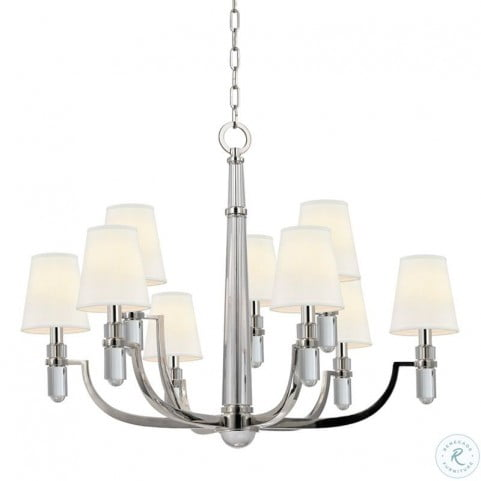 Dayton Polished Nickel 9 Light Chandelier with White Shade