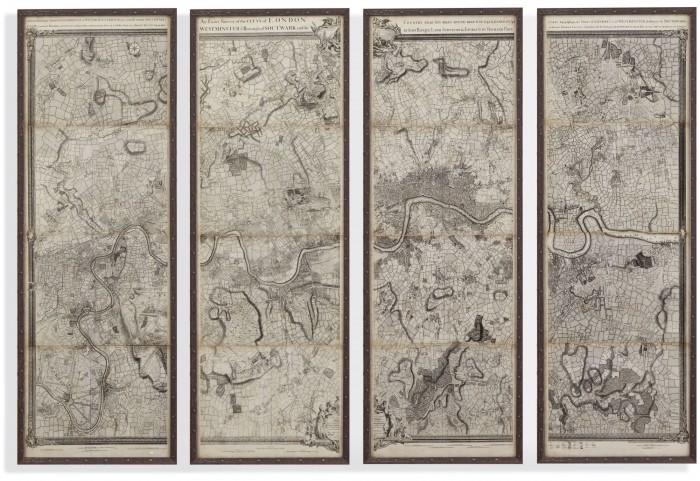 Map of London Panels Wall Art