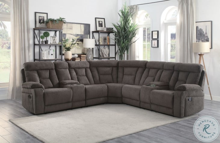 Rosnay Chocolate 3 Piece Reclining Sectional