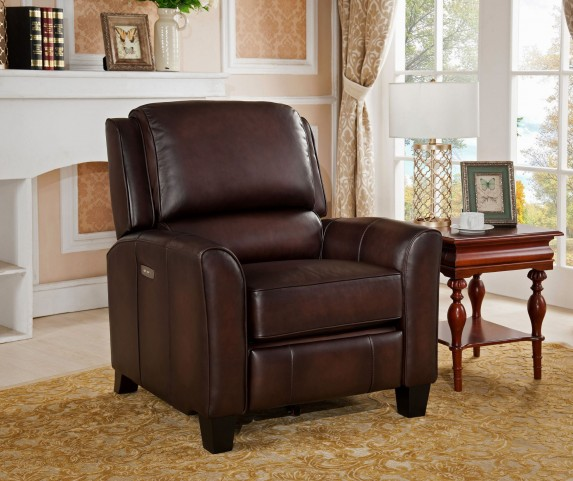 Oxford Brown Leather Power Recliner