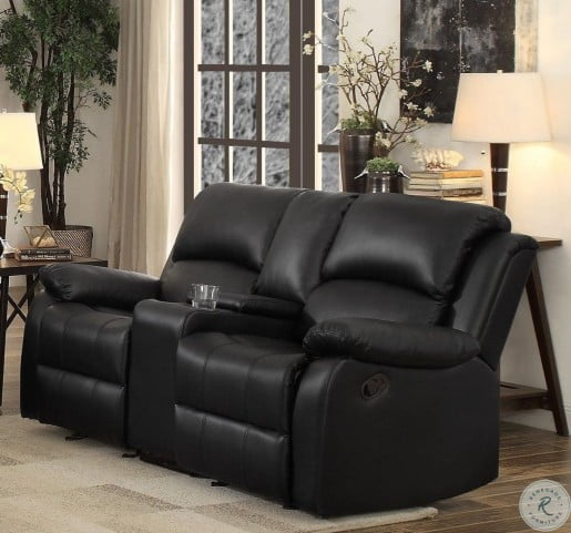 Sensational Clarkdale Black Double Glider Reclining Loveseat With Center Console Inzonedesignstudio Interior Chair Design Inzonedesignstudiocom