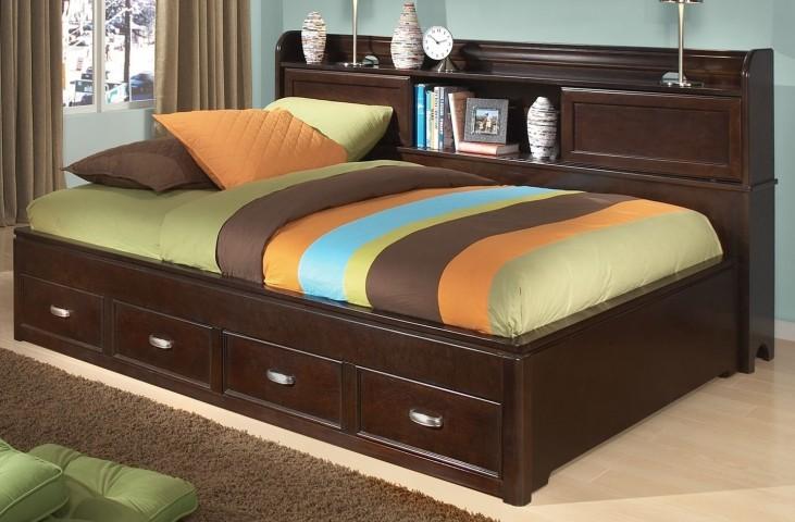 Park City Merlot Full Bookcase Storage Lounge Bed