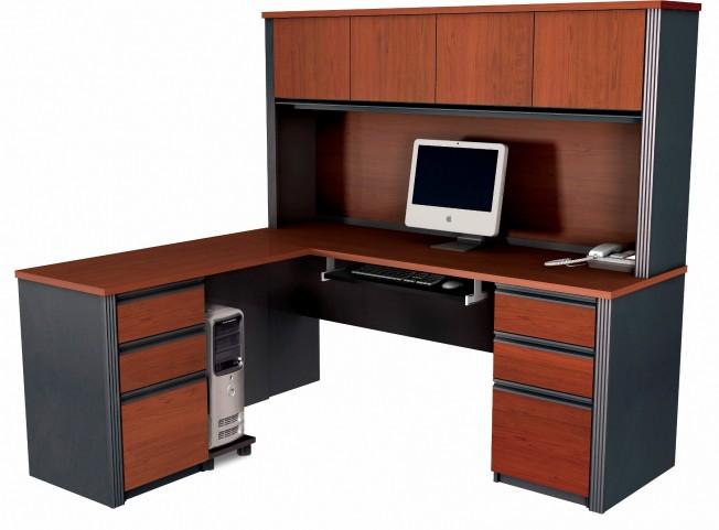 Prestige Plus L-Shaped Workstation Kit In Bordeaux & Graphite