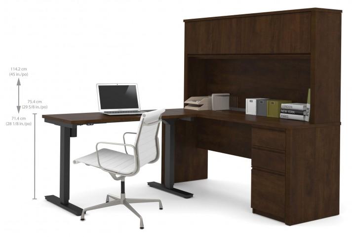 Prestige Plus Chocolate L-Desk With Hutch