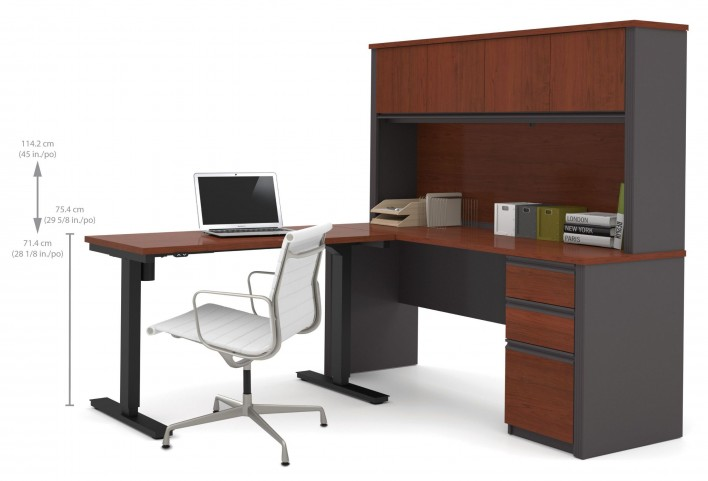 Prestige Plus Bordeaux & Graphite L-Desk With Hutch