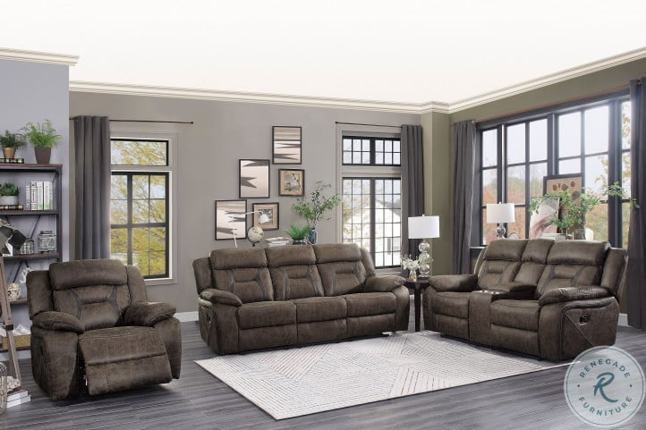 Madrona Dark Brown Double Reclining Living Room Set