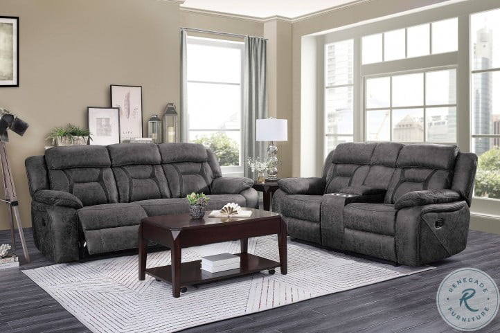 Madrona Hill Gray Double Reclining Center Console Loveseat