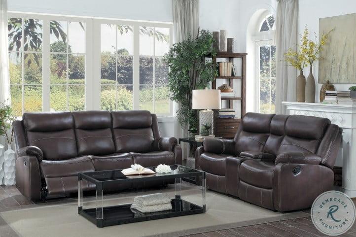 Yerba Dark Brown Double Lay Flat Reclining Living Room Set