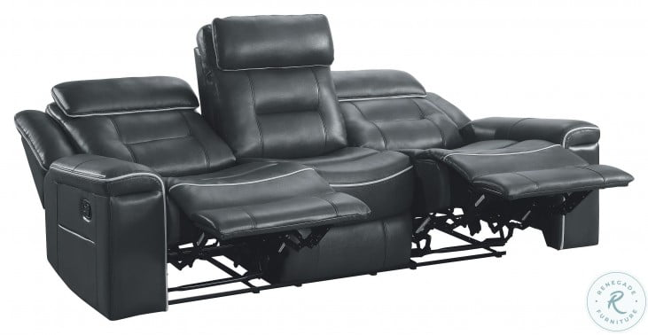 Darwan Dark Gray Double Lay Flat Reclining Sofa