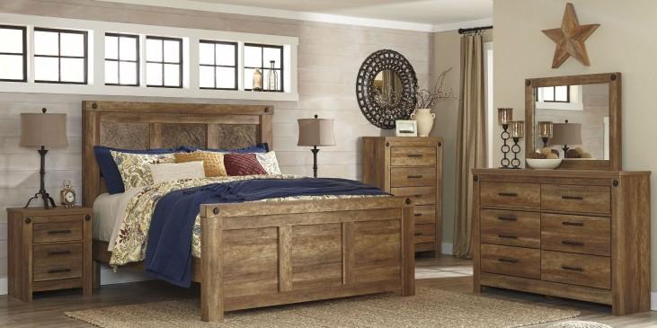 Ladimier Golden Brown Mansion Bedroom Set