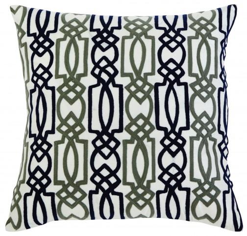 Embroidered Fiber filled Navy Pillow Set of 4