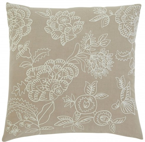 Embroidered Natural Pillow Cover Set of 4
