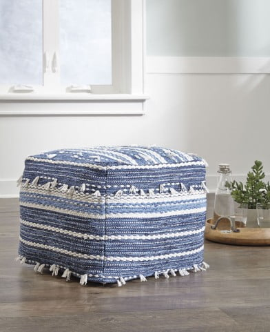 Anthony Blue And White Pouf