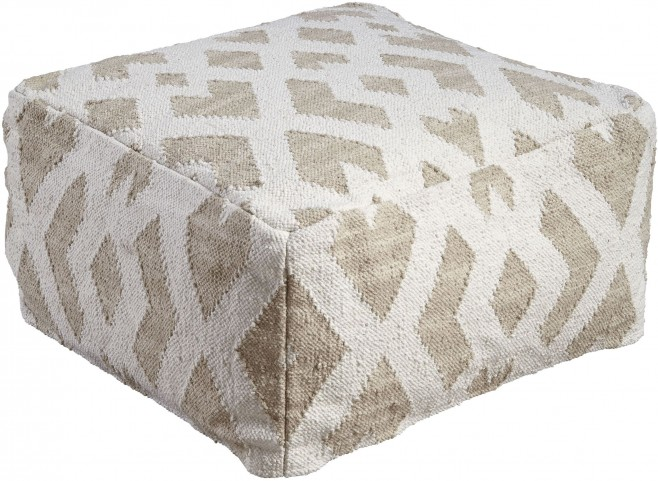 Badar Taupe and White Pouf