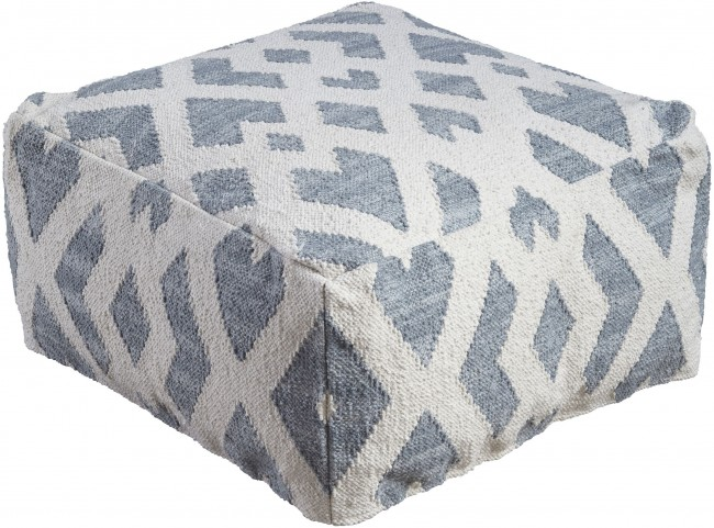 Badar Teal and White Pouf