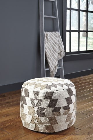 Abraham White and Brown Pouf