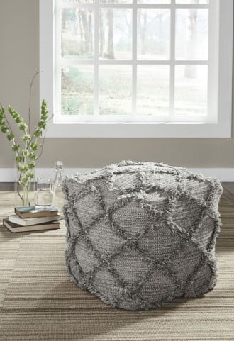 Adelphie Natural and Gray Pouf