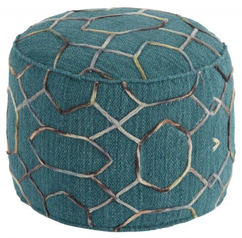 Overdyed Dark Green Pouf