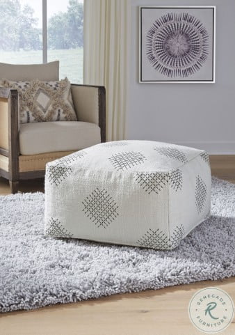 Mabyn Ivory Beige And Gray Pouf