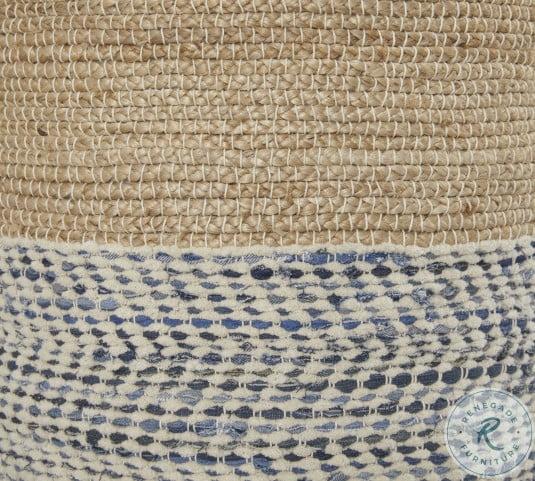 Matson Natural and Blue Pouf