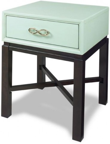 Spencer Celadon Blue and Espresso Chairside Table