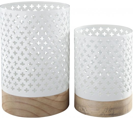 Daichi White and Natural Candle Holder Set of 2