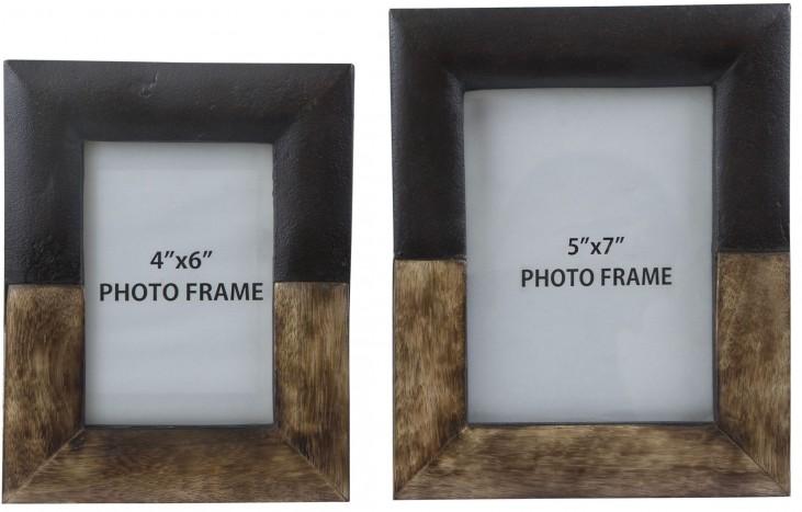 Michi Bronze Finish and Wood Photo Frame Set of 2