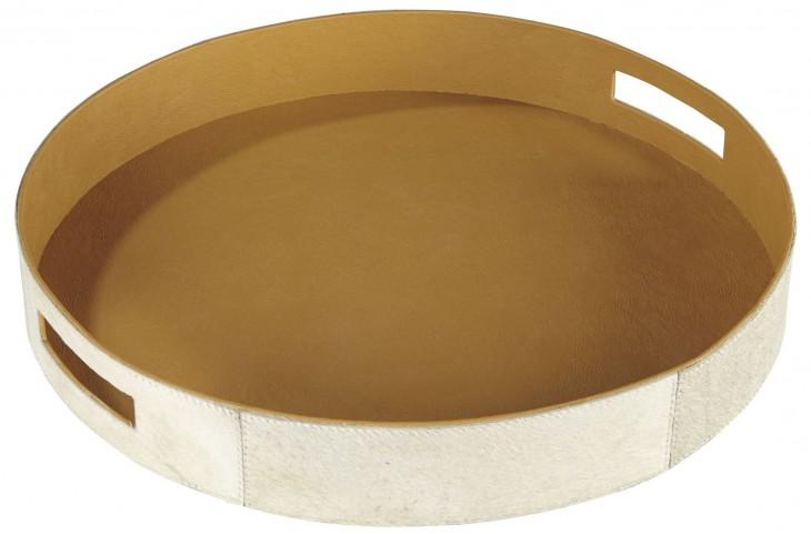 Odeda Beige Round Tray Set of 2