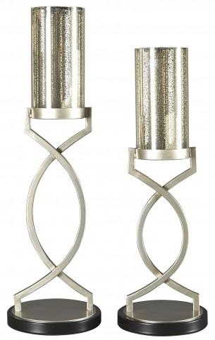 Odele Silver Candle Holder Set of 2