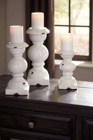 Devorah Antique White Candle Holder Set of 3