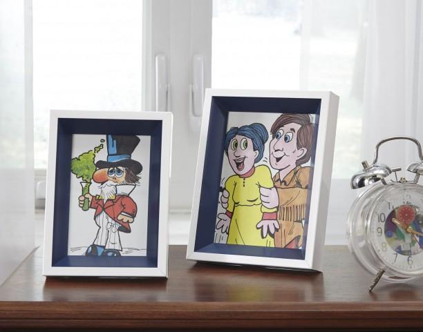 Obie White and Navy Photo Frame Set of 2