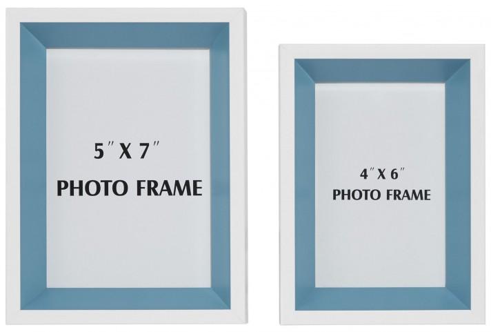 Obie White and Blue Photo Frame Set of 2