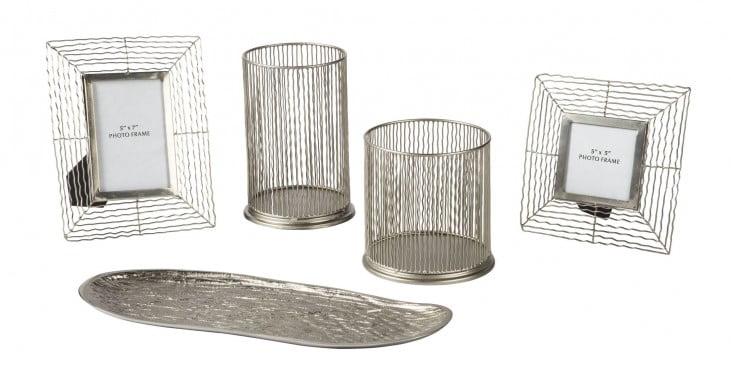 Dympna Silver Metal Accessory Set of 5