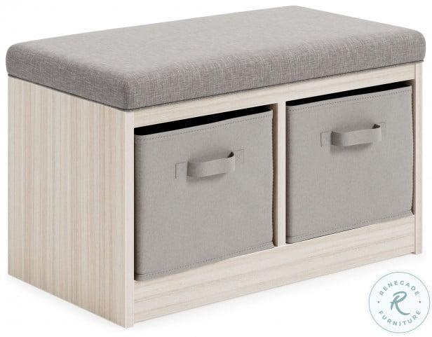 Blariden Gray and Natural Storage Bench