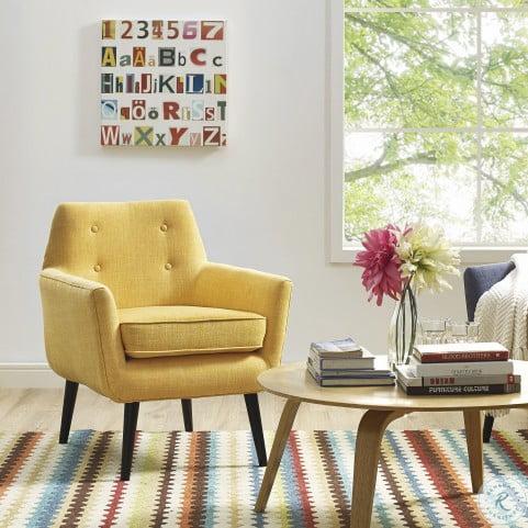 Clyde Mustard Yellow Linen Chair
